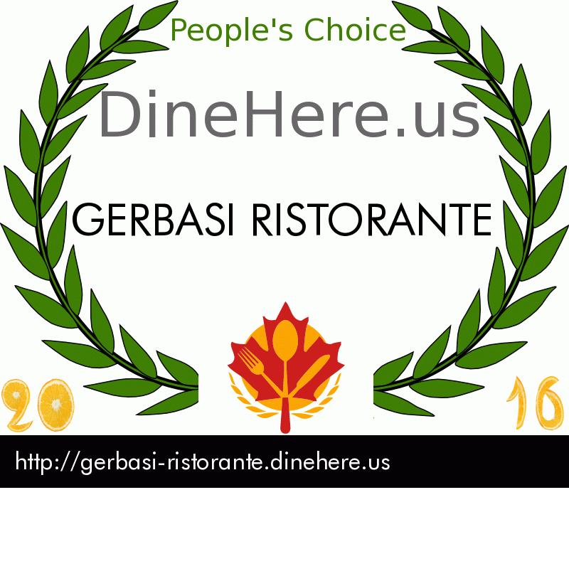 GERBASI RISTORANTE DineHere.us 2016 Award Winner